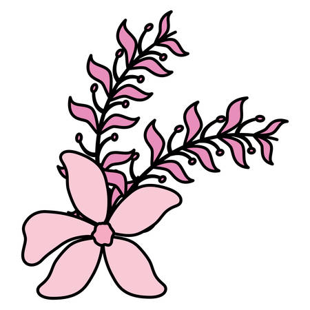 tropical flower icon over white background, vector illustration