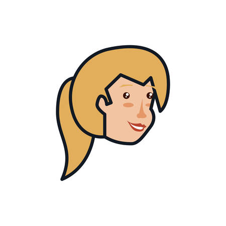 head of woman avatar character vector illustration design