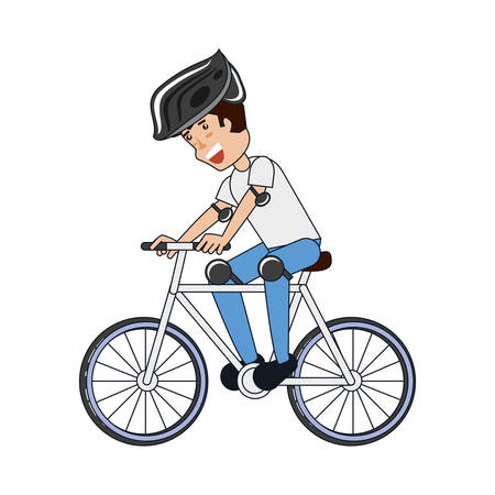 young man riding bicycle vector illustration design