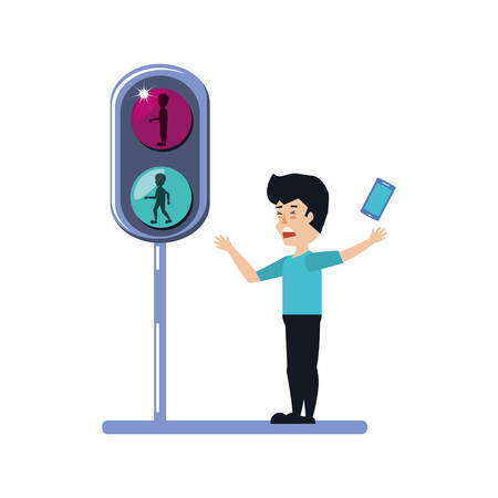 man with smartphone and traffic light vector illustration design Vettoriali