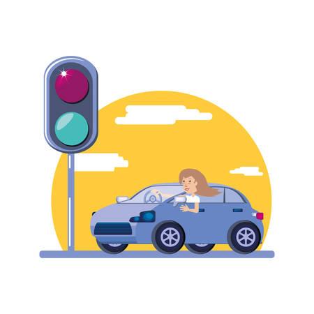 Chariot de conduite femme avec feu de circulation vector illustration design Vecteurs