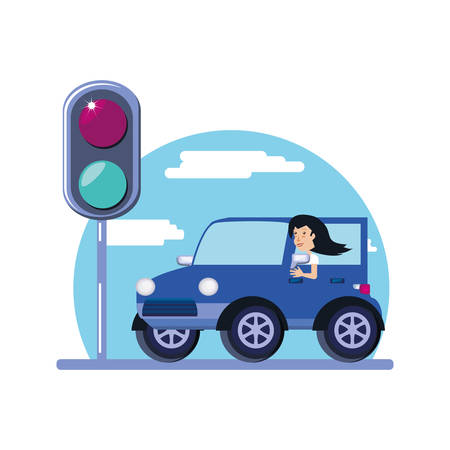 woman driving cart with traffic light vector illustration design
