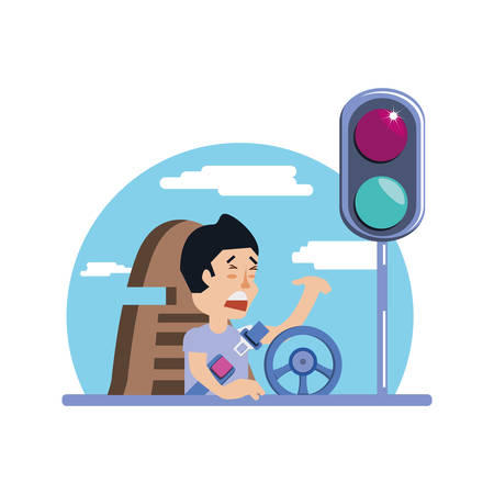 man driving cart with traffic light vector illustration design