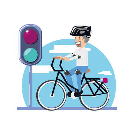man ride bike with trafic light character vector illustration design Illustration