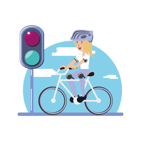 woman ride bike with trafic light character vector illustration design