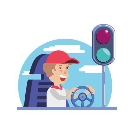 man driving cart with traffic light vector illustration design