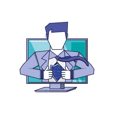 computer with super hero vector illustration design Illustration