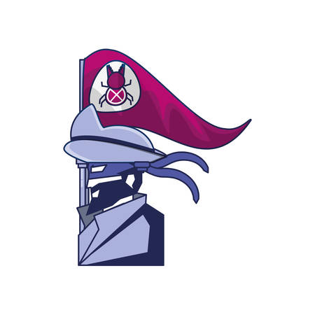 cybernetic pirate with flag bug avatar vector illustration design
