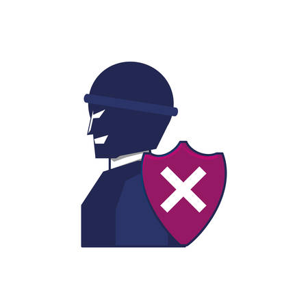 thief man with shield security vector illustration design