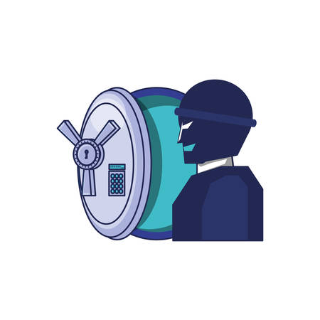 thief man with safe box security vector illustration design Ilustração