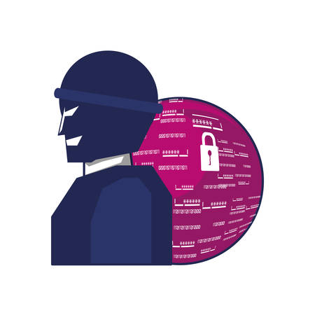 thief man with sphere browser vector illustration design