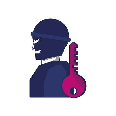 thief man with key security vector illustration design