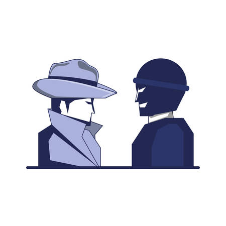 cyber security agent and thief man vector illustration design