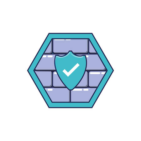 cyber security wall with shield vector illustration design