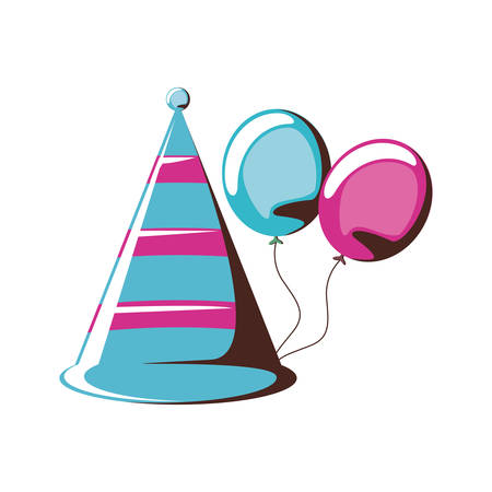 party hat decorative with balloons air helium vector illustration design Illustration