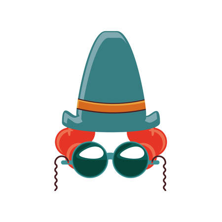 clown hat carnival with sunglasses vector illustration design  イラスト・ベクター素材