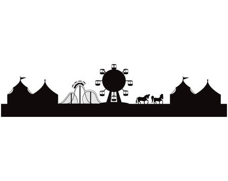 silhouette of amusement park with tents circus vector illustration design