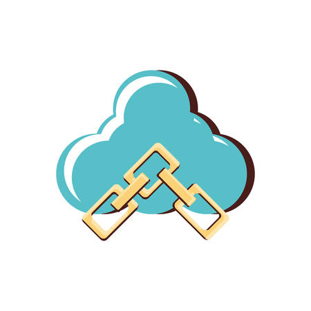 cloud computing with chains vector illustration design