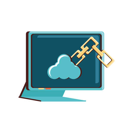 computer monitor with cloud computing and chain vector illustration design
