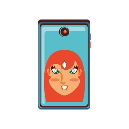 head of woman in smartphone device vector illustration design