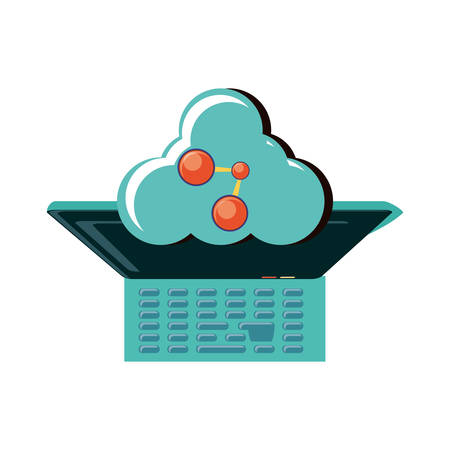 view aerial of laptop with cloud computing and share signal vector illustration design