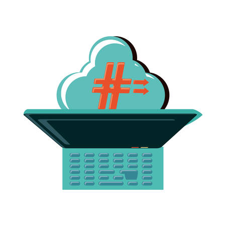 laptop and cloud computing with pound key vector illustration design