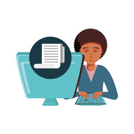 man black with desktop computer and paper receipt vector illustration design