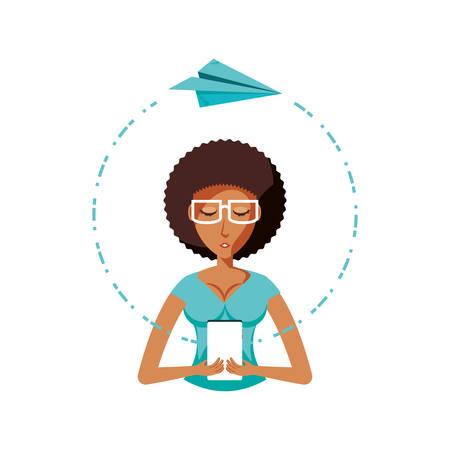 Femme avec smartphone et papier avion vector illustration design