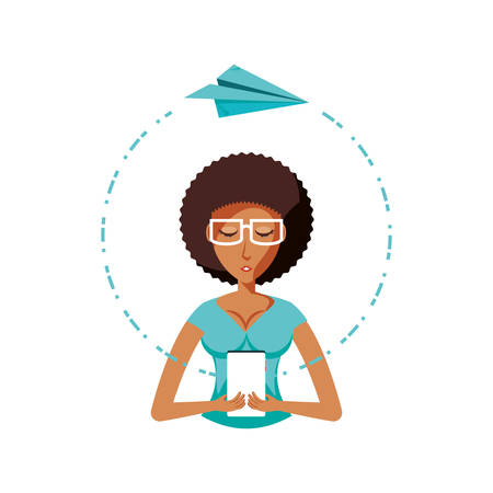 woman with smartphone and airplane paper vector illustration design