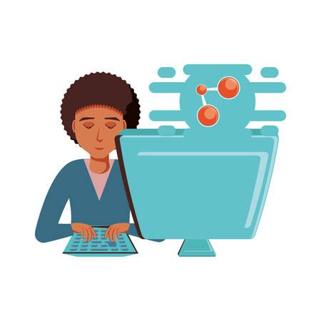 man with desktop computer and share symbol vector illustration design Vektorové ilustrace