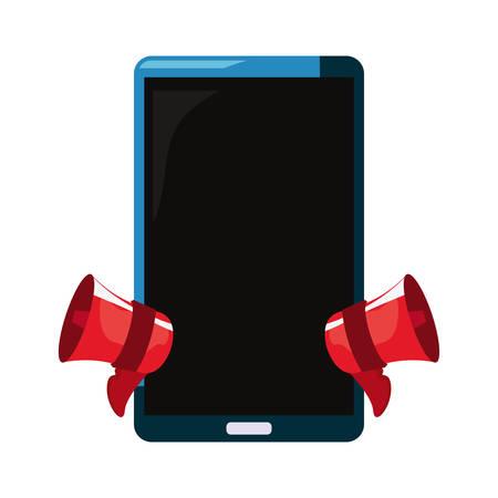 online shopping cellphone speakers advertising vector illustration