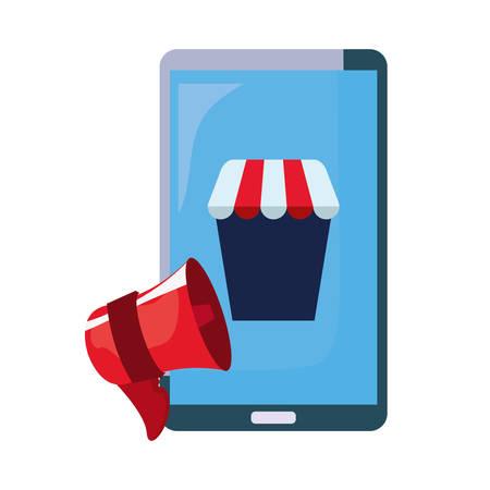 online shopping cellphone speaker market vector illustration Illustration