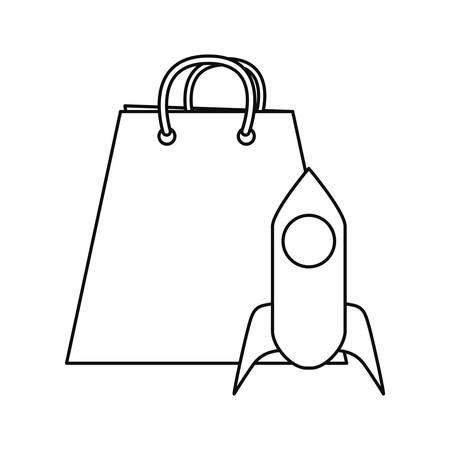 online shopping bag rocket startup vector illustration outline Vectores