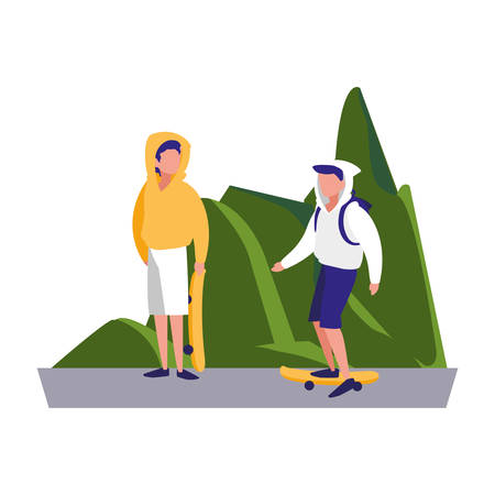 two men practicing skateboarding in the landscape vector illustration