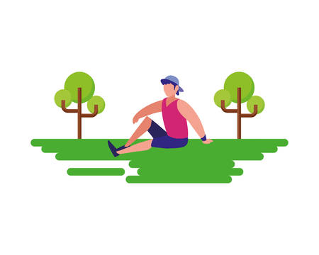 man sitting in the landscape vector illustration Ilustração