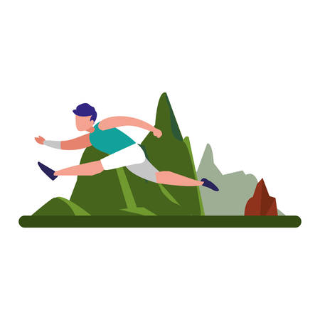 man practicing exercise natural outdoor vector illustration