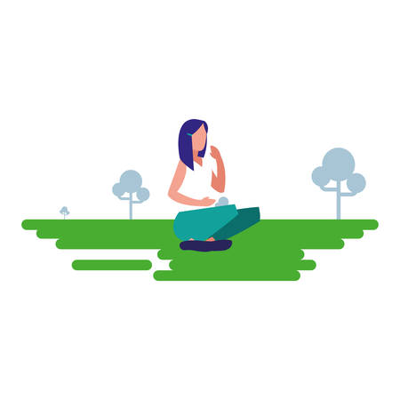 woman practicing exercise natural outdoor vector illustration