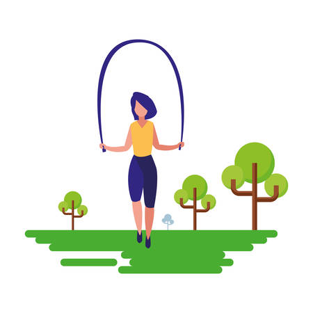 woman jumping rope natural outdoor vector illustration Vettoriali