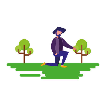 man with hat on the knee natural outdoor vector illustration Stock Illustratie