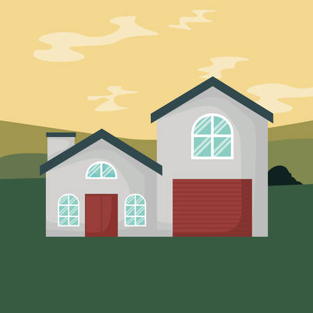house facade in the landscape vector illustration