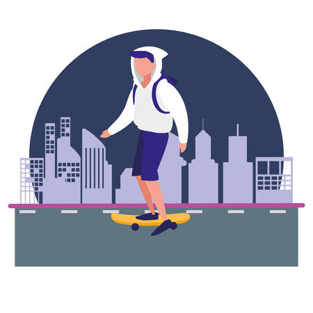 man with skateboard in the city vector illustration vector illustration Illustration