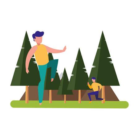 men practicing exercises natural outdoor vector illustration Vettoriali