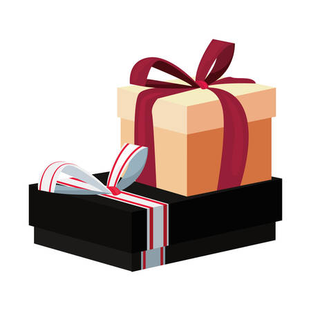 two gift boxes with bow on white background vector illustration Ilustração