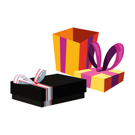 wrapped gift boxes party celebration vector illustration