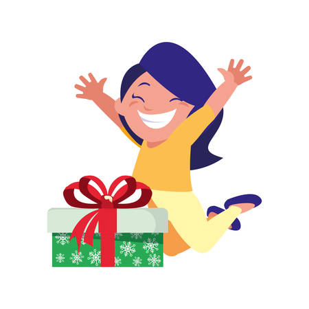 happy girl with gift box celebration vector illustration