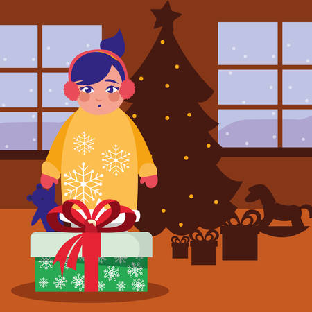 girl with christmas gift in the room vector illustration