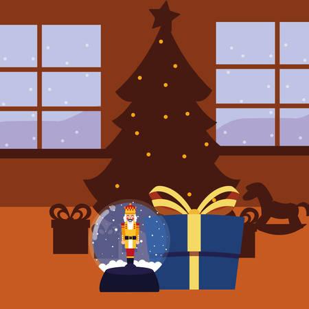 christmas nutcracker snow globe gift and tree vector illustration