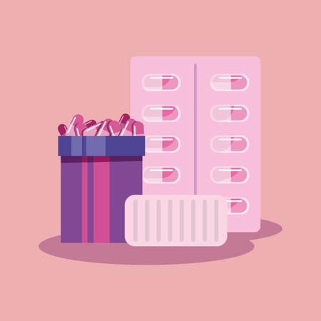 vaccination pills vial bottle cure vector illustration