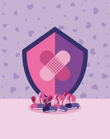 vaccination shield cures pills hearts background vector illustration