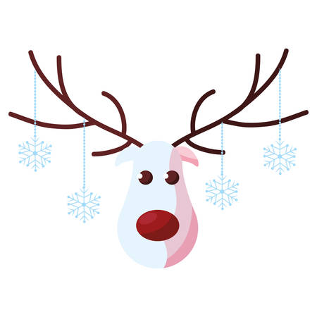 Cartoon christmas deer with red nose over white background, vector illustration